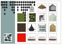 Moodboard styling grafisch huisje Siematicstylist Beurs eigen huis bouwen en verbouwen